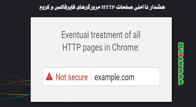 هشدار ناامنی صفحات HTTP مرورگرهای فایرفاکس و کروم