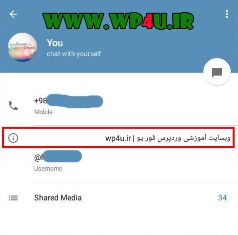 اضافه کردن بیوگرافی در تلگرام