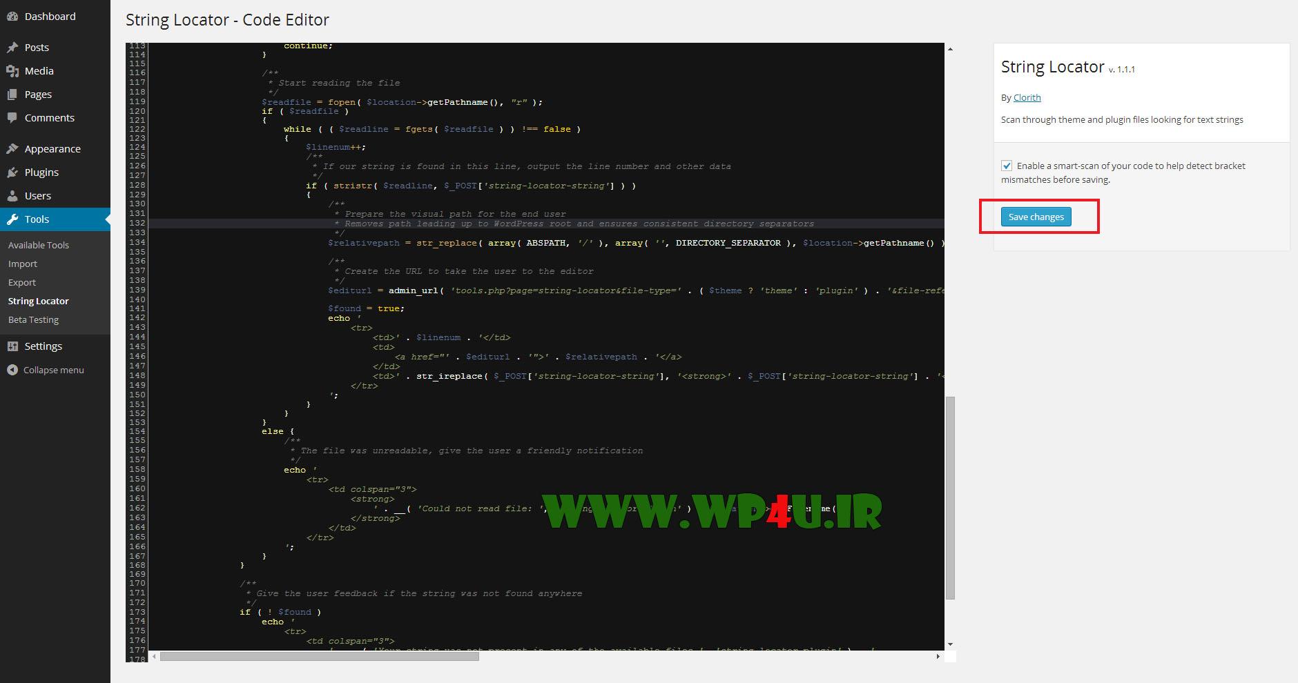 جستجوی کد در وردپرس